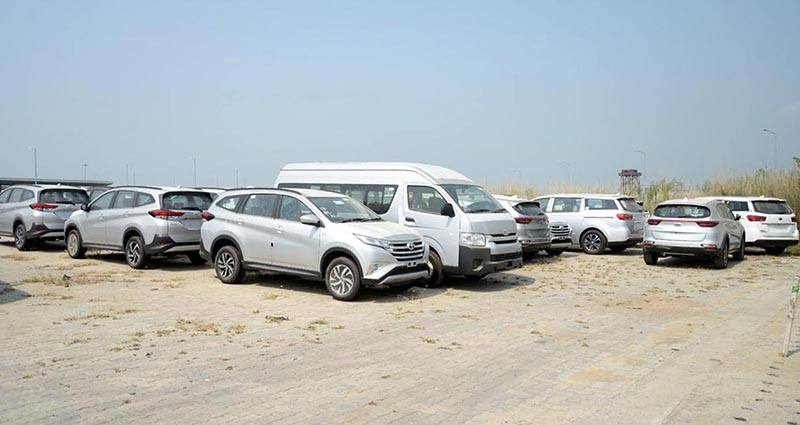 New vehicles parked at the integrated check post yard in Birgunj, on Tuesday, October 9, 2018. Photo: THT