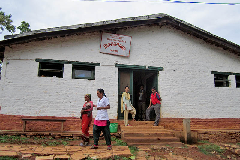 People are seen on the premises of District Hospital, Jajarkot, on Monday, October 01, 2018. Photo: Dinesh Kumar Shrestha