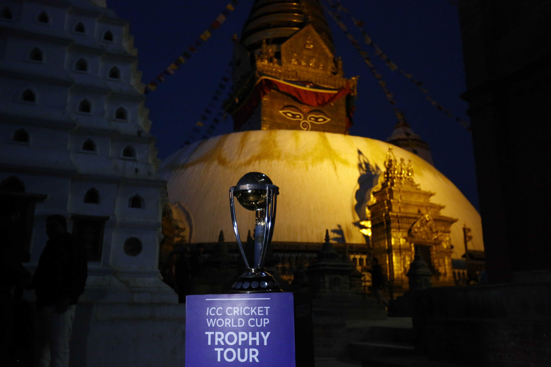 ICC World Cup Trophy is put on display in front of Swoyambhunath Stupa, a UNESCO World Heritage Site, in Kathmandu, on Friday, October 26, 2018. Photo: Skanda Gautam/THT