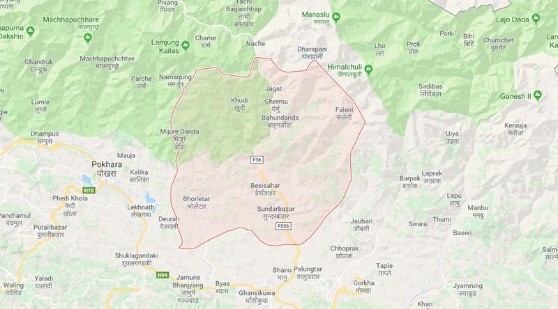 Lamjung district map