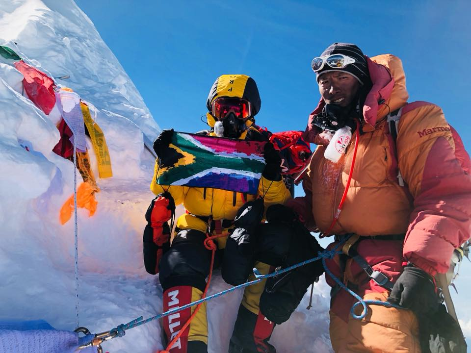 Jeannette McGill along with Pasang Ongchu Sherpa on top of Mt Manaslu. Photo: McGill