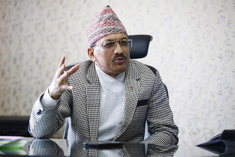 Interview with Nabin Kumar Ghimire who  has recently taken charge as Chief Commissioner of the Commission for the Investigation of Abuse of Authority (CIAA), in Kathmandu, on Friday, October 5, 2018. Photo: Skanda Gautam/THT