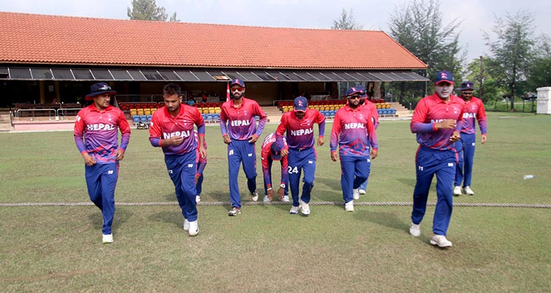 Nepali cricket team marching into the cricket ground to play fifth match against China in ICC World Twenty20 Asia Region Qualifier B in Kuala Lumpur, Malaysia, on Wednesday, October 10, 2018. Photo courtesy: Raman Shiwakoti