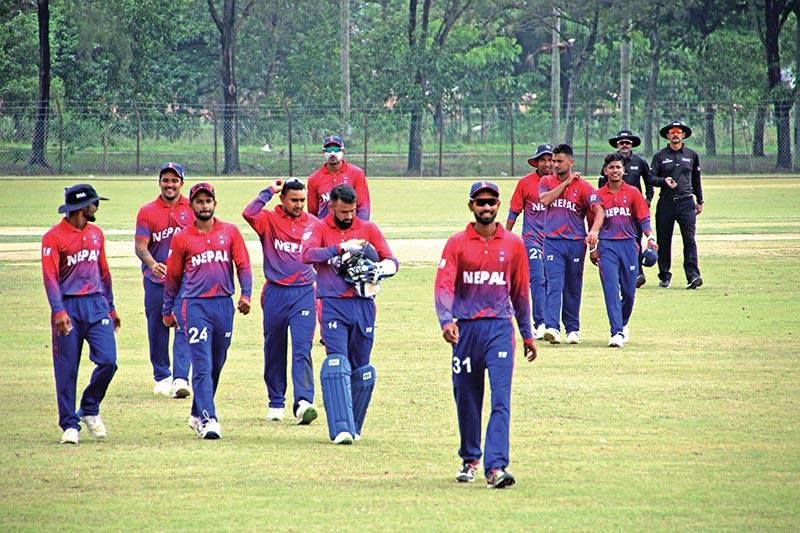 FILE: Nepali cricket team players walk off the pitch after fielding against Myanmar during their ICC World Twenty20 Asia Region Qualifier u2018Bu2019 match in Kuala Lumpur on Wednesday. Nepal won the match by eight wickets. Photo Courtesy: Raman Shiwakoti