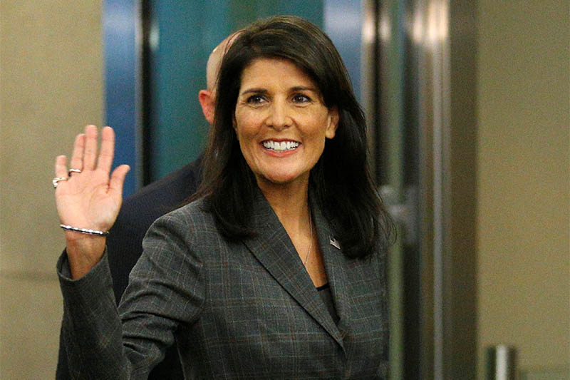 File: US Ambassador to the UN Nikki Haley arrives at UN headquarters in New York, US, September 18, 2017. Photo: Reuters