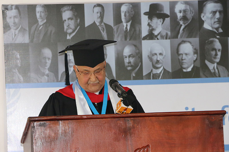 Prime Minister KP Sharma Oli addressing the audience after being awarded the degree of u2018doctor honoris causau2019 at a special convocation organised in San Jose, Costa Rica, on Monday, October 1, 2018. Photo: RSS