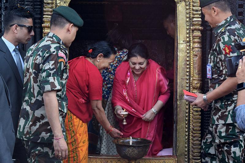 President Bidya Devi Bhandari worshipping at Palanchok Bhagawati temple on the occasion of Maha Ashtami, in Panchkhal Municipality-9, Kavrepalanchok, on Wednesday, October 17, 2018. Photo: RSS