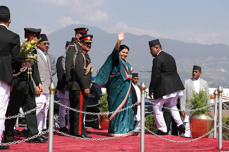 President Bidya Devi Bhandari waves before her departure at Tribhuvan International Airport, Kathmandu, on October 29, 218.The president is on a four-day official visit to the State of Qatar at the invitation of the Amir of the State of Qatar, Sheikh Tamim Bin Hamad Al Thani. Photo: RSS