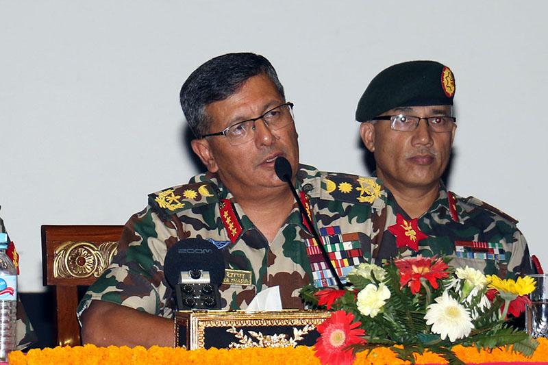 Chief of Army Staff Purna Chandra Thapa addresses media at Bhadrakali, Kathmandu, on Thursday, October 11, 2018. Photo: RSS