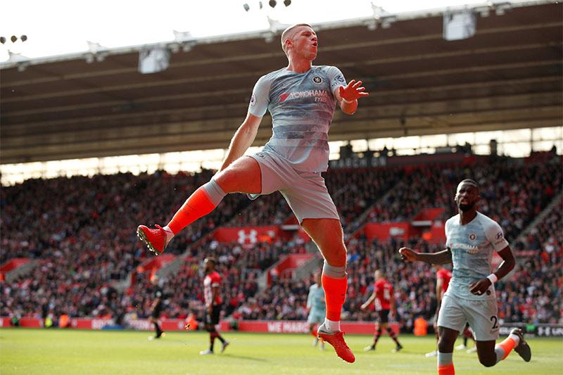 Chelsea's Ross Barkley celebrates scoring their second goal. Photo: Reuters