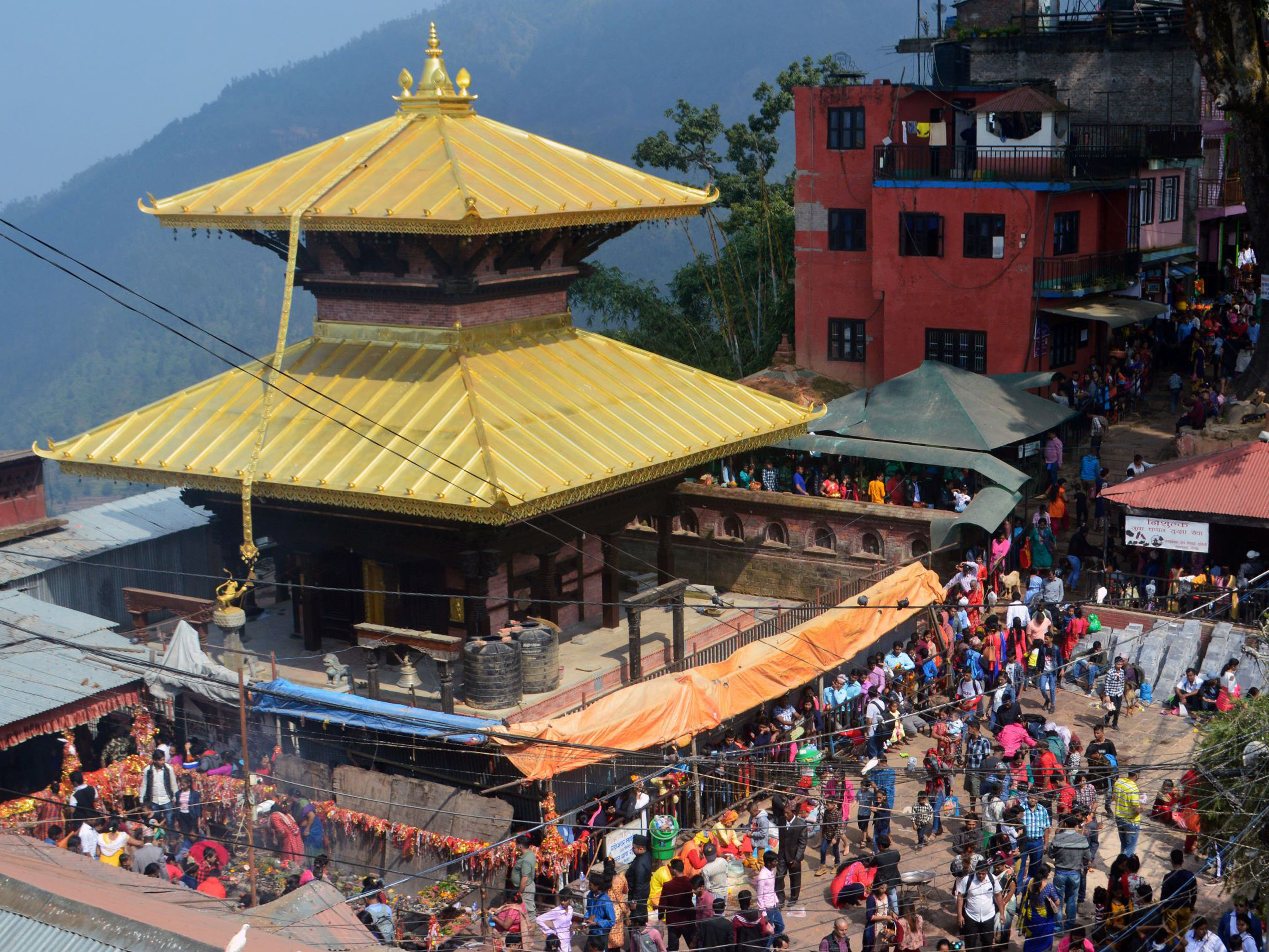 Devotees throng the renovated Manakamana Temple in Gorkha during Dashain. Photo: RSS