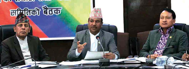 Youth and Sports Minister Jagat Bahadur Sunar (centre) gestures during a meeting in Kathmandu on Sunday. Photo: THT