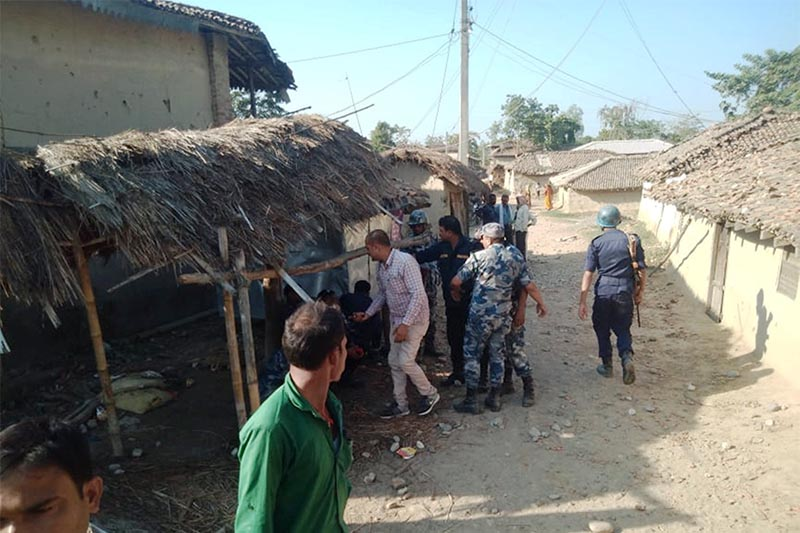 Police inspecting the site where a violent clash between Nepali Congress and NCP cadres took place at Ramnagar Rural Municipality, Sarlahi, on Tuesday, October 30, 2018. Photo: Prabhat Kumar Jha/THT
