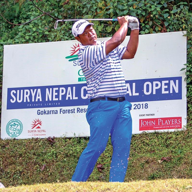 Shivaram Shrestha plays a shot during the third round of the Surya Nepal Central Open in Kathmandu on Wednesday. Photo Courtesy: NPGA