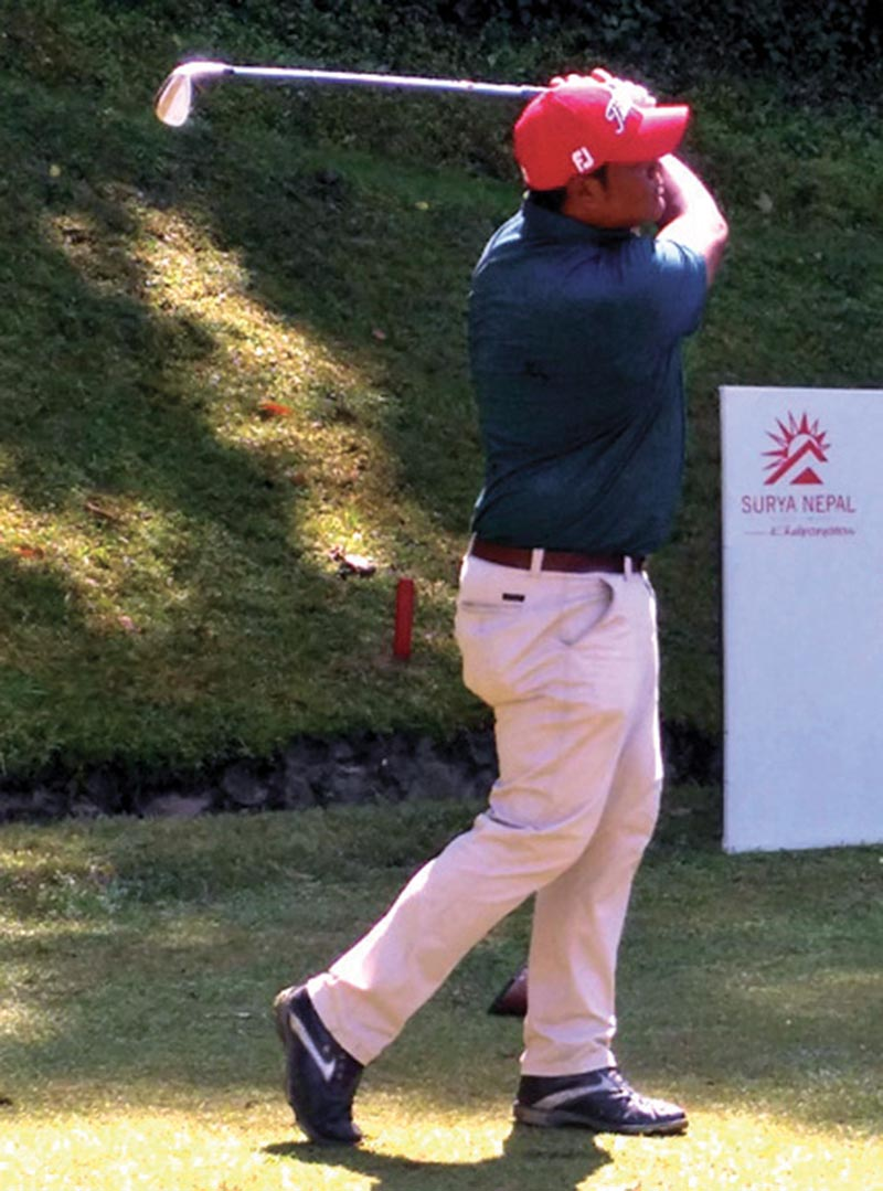 Top pro Shivaram Shrestha plays a shot during the second round of the Surya Nepal Central Open at the Gokarna Golf Club in Kathmnadu on Tuesday. Photo Courtesy: NPGA