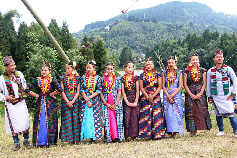 Local artists clad in traditional attires pose for a portrait during a video shoot in Ilam district, on Thursday, October 11, 2018. Photo: RSS