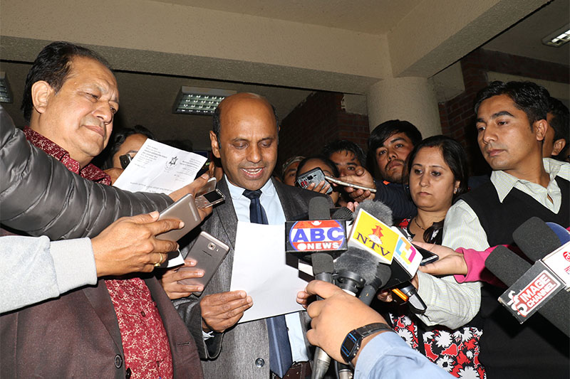 Manmohan Cardiothoracic Vascular and Transplant Centre Acting Director Dr Uttam Krishna Shrestha briefs media about Prime Minister KP Sharma Oli's health condition on the premises of the hospital in Kathmandu, on Monday, October 29, 2018. Photo: RSS