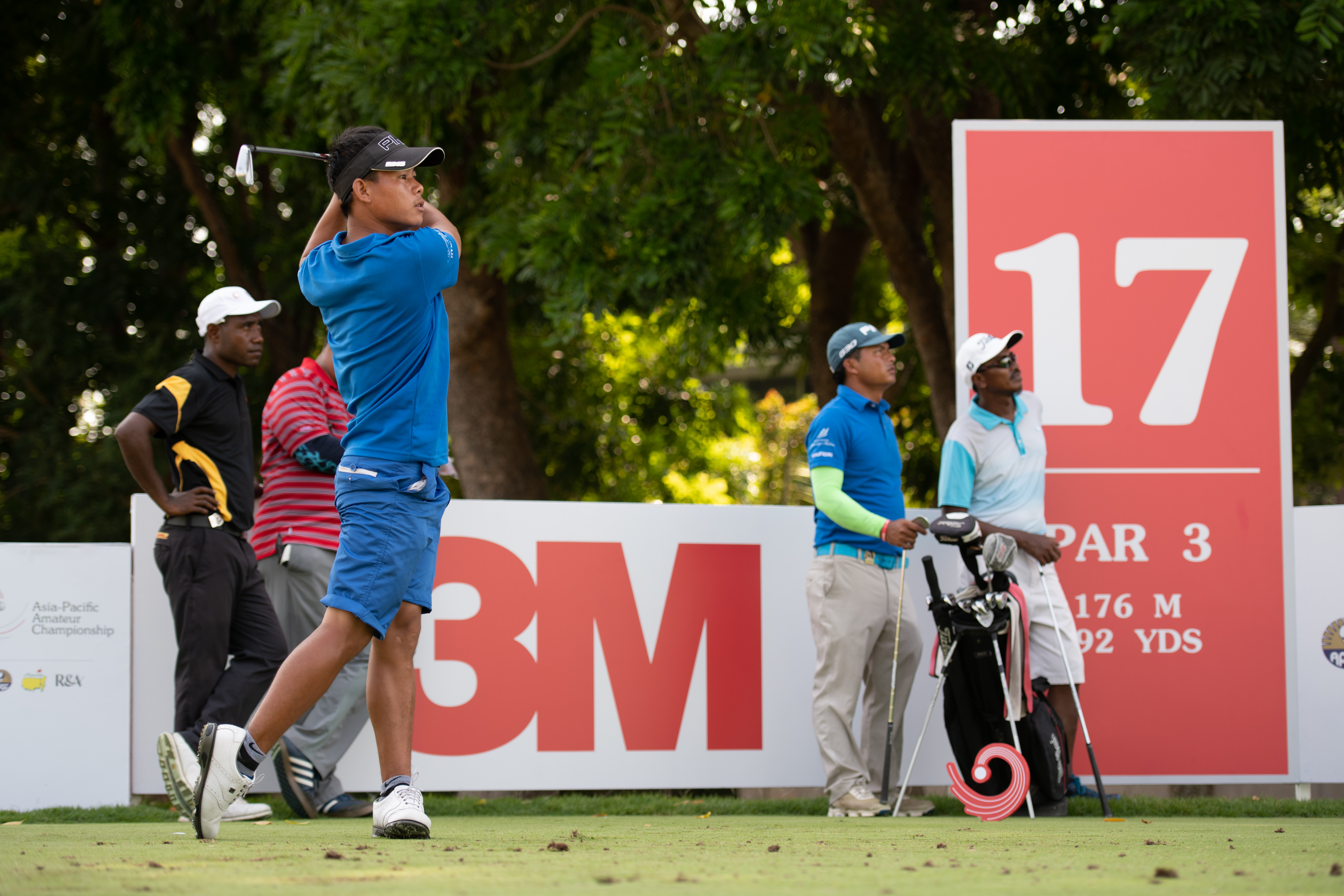 Sukra Bahadur Rai of Nepal in action during the 2018 Asia-Pacific Amateur Championship (AAC) at Sentosa Golf Club, Singapore, on Wednesday, October, 3, 2018. Photographer: Graham Uden/AAC