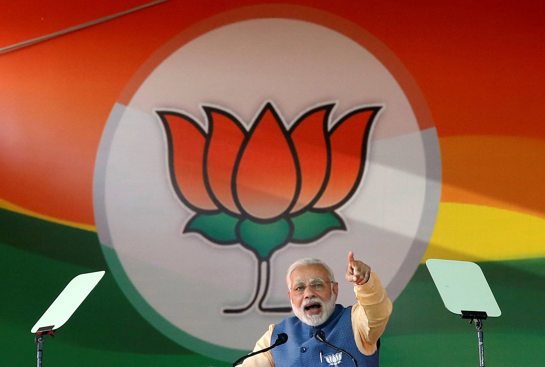FILE PHOTO: India's Prime Minister Narendra Modi addresses an election campaign rally ahead of the Karnataka state assembly elections in Bengaluru, India, February 4, 2018. REUTERS