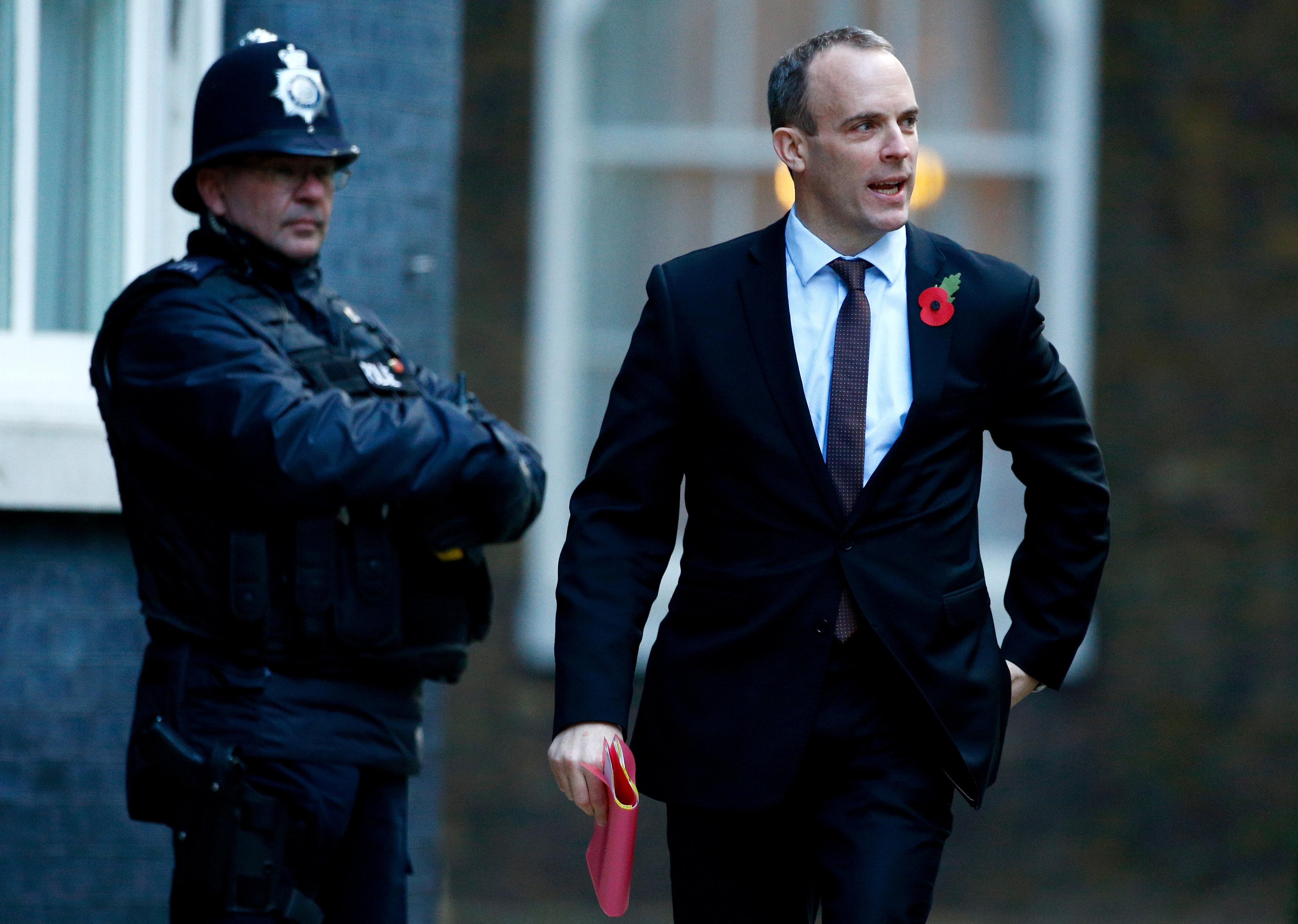 FILE PHOTO: Britain's Secretary of State for Exiting the European Union Dominic Raab arrives in Downing Street in London, Britain, October 29, 2018. REUTERS