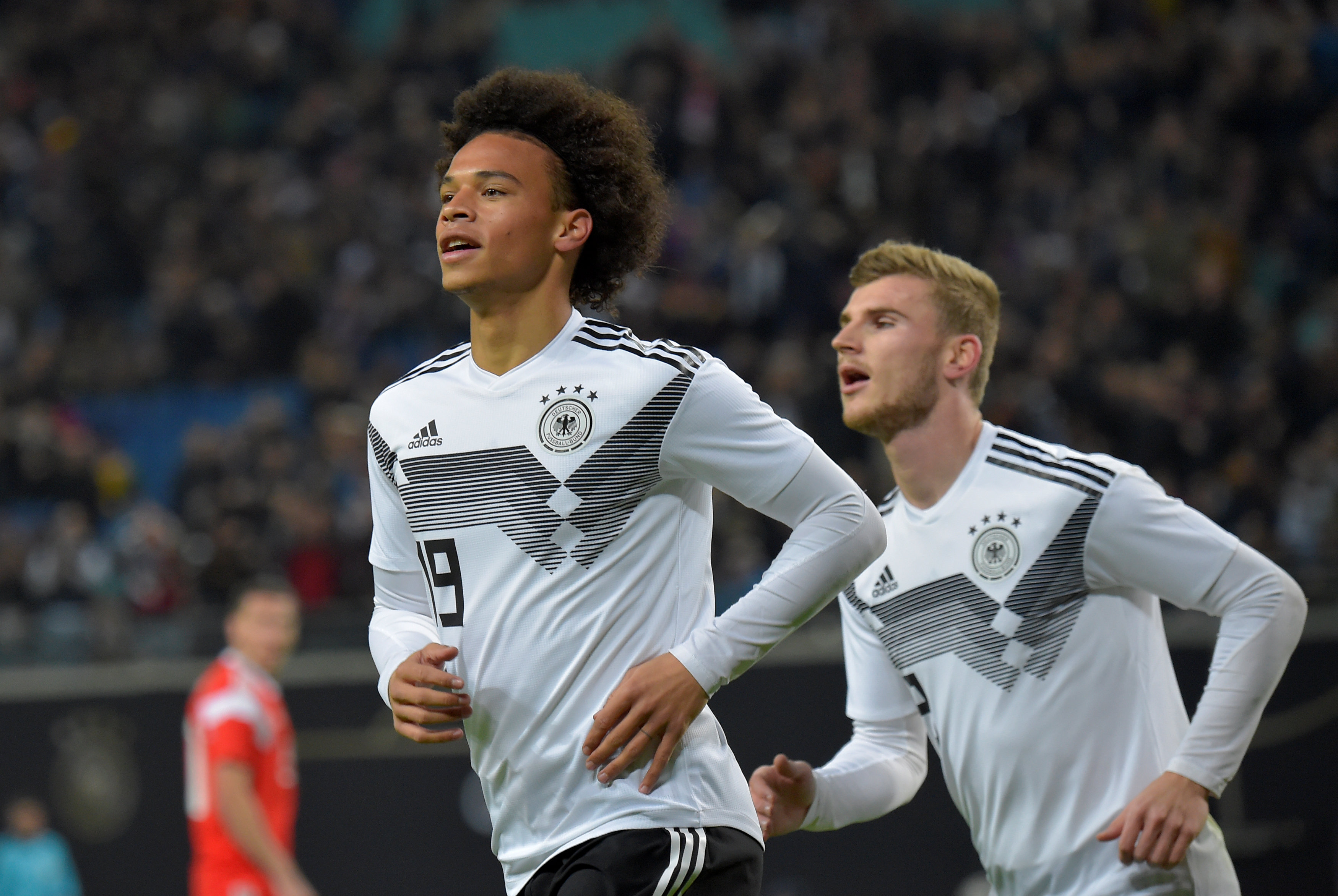 Soccer Football - International Friendly - Germany v Russia - Red Bull Arena, Leipzig, Germany - November 15, 2018  Germany's Leroy Sane celebrates scoring their first goal.   REUTERS