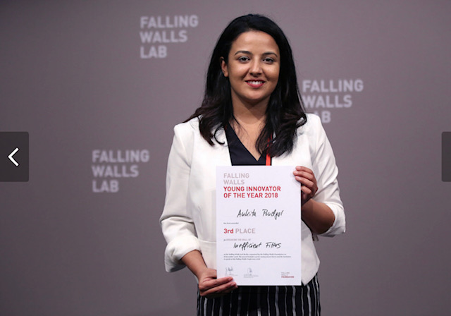 Ankita Poudyal holds a honour certificate following the Falling Walls Science Conference at Berlin, Germany. The completion was organised by Falling Walls lab where researchers from across the globe were asked to pitch their ideas in three minutes. Photo: Falling Walls Foundation