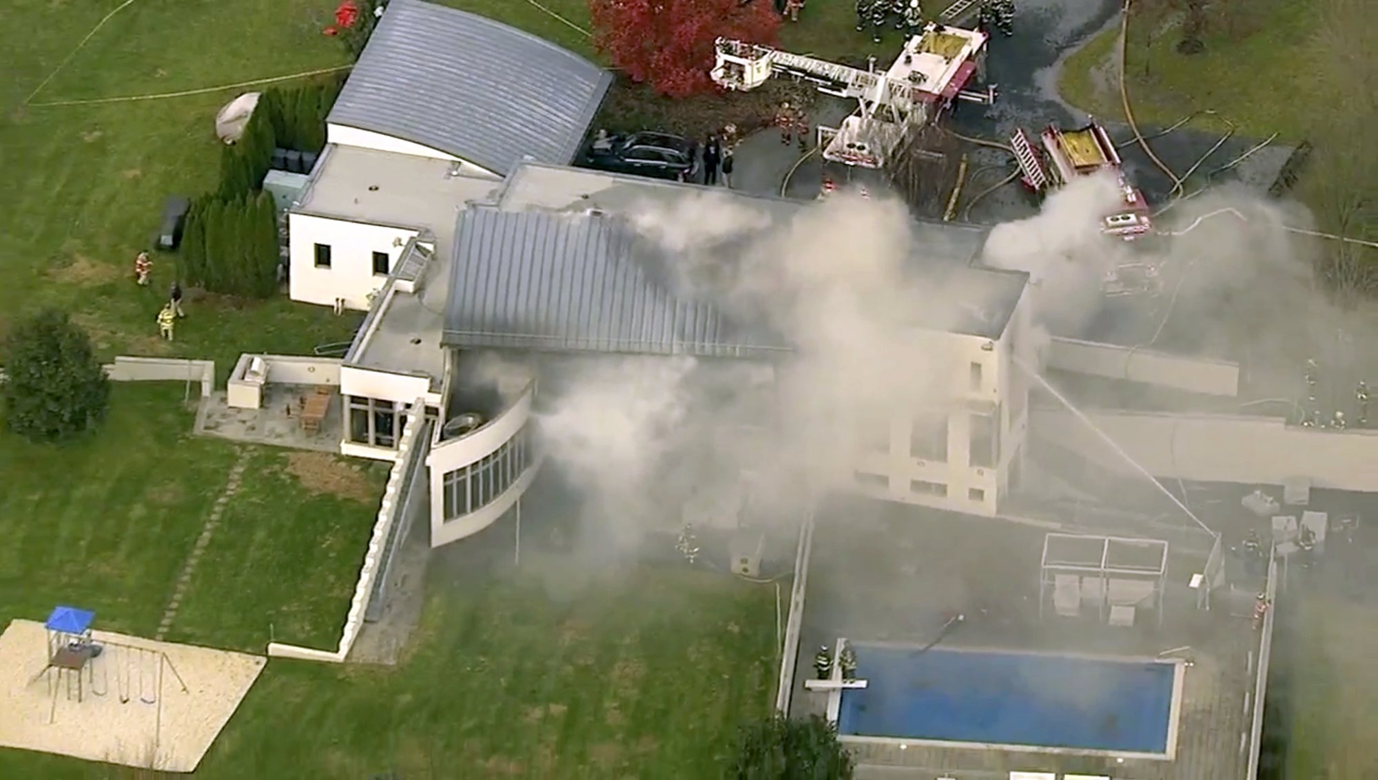 In this image made from a video provided by WABC firefighters battle a fatal fire on Tuesday, Nov. 20, 2018, in Colts Neck, N.J. Photo: AP