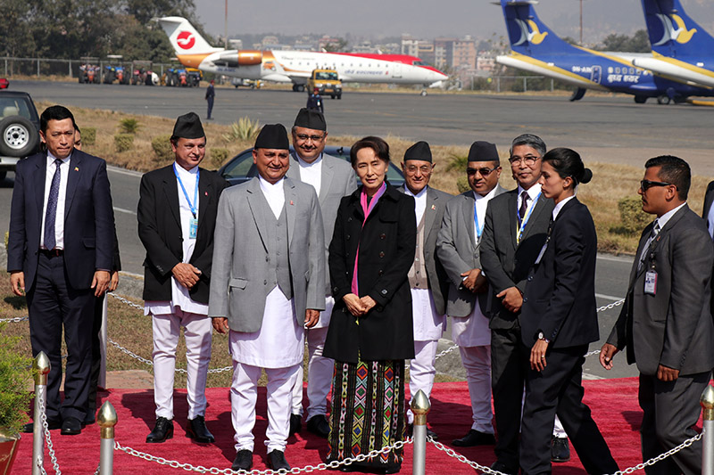 Deputy Prime Minister and Defence Minister Ishwar Pokharel welcomes State Counsellor of Myanmar Aung San Suu Kyi who is here to attend the Asia Pacific Summit 2018, at Tribhuvan International Airport, on Thursday, November 29, 2018. Photo: RSS