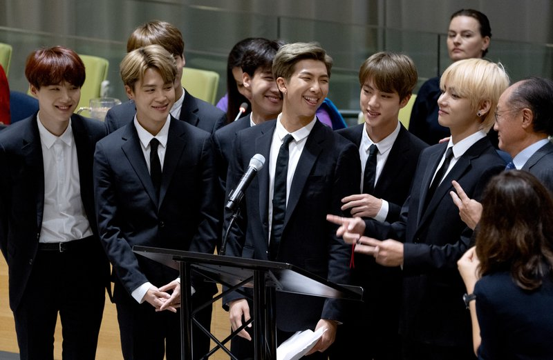 FILE - Members of the Korean K-Pop group BTS attend a meeting at the UN high-level event regarding youth during the 73rd session of the United Nations General Assembly, at UN headquarters, on September 24, 2018. Photo: AP