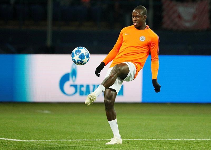 Manchester City's Benjamin Mendy during the warm up before the match during the  Champions League Group Stage match of Group F between Shakhtar Donetsk and Manchester City, at Metalist Stadium, in Kharkiv, Ukraine, on October 23, 2018. Photo: Reuters