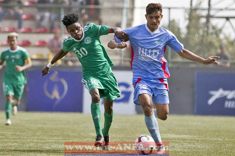 Chyasal's striker Bimal Gharti Magar dribbles past NRT player during Martyr's Memorial 'A' Division League at Anfa complex ground in Satdobato, on Thursday, November 22, 2018. Courtesty: ANFA