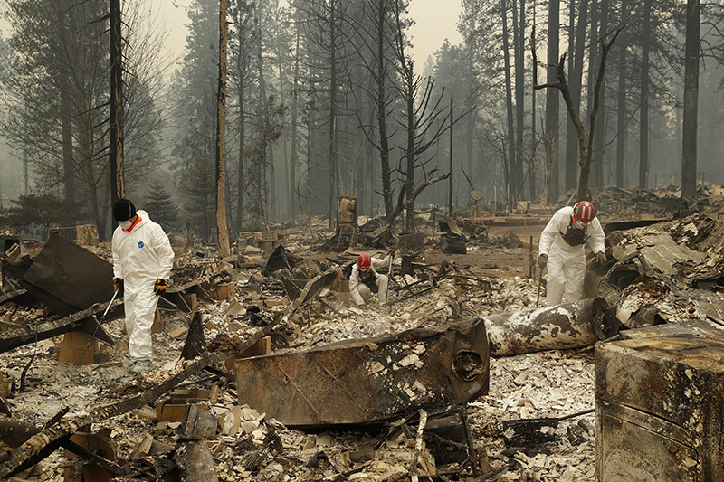 Search and rescue workers search for human remains at a trailer park burned by the Camp Fire, in Paradise, California, on Tuesday, November 13, 2018. Photo: AP