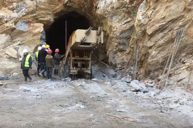 Workers muck out debris from the tunnel constructed at Nyadi Hydropower Project. Photo: Youtube