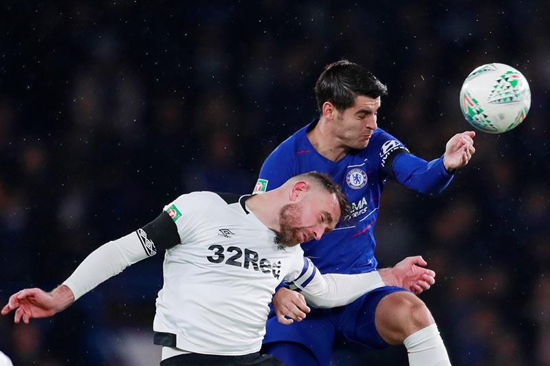 Derby County's Richard Keogh in action with Chelsea's Alvaro Morata during the Carabao Cup Fourth Round match between Chelsea and  Derby County, at Stamford Bridge, in  London, Britain, on October 31, 2018. Photo: Action Images via Reuters