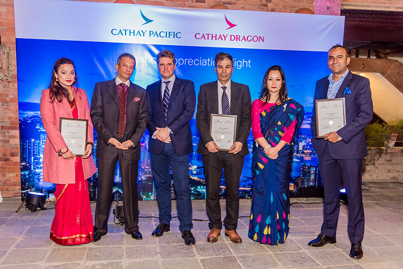 Cathay Dragon honours its top performing passenger and cargo agents in Nepal for their excellent service and continuous support to Cathay Dragon. Photo: THT