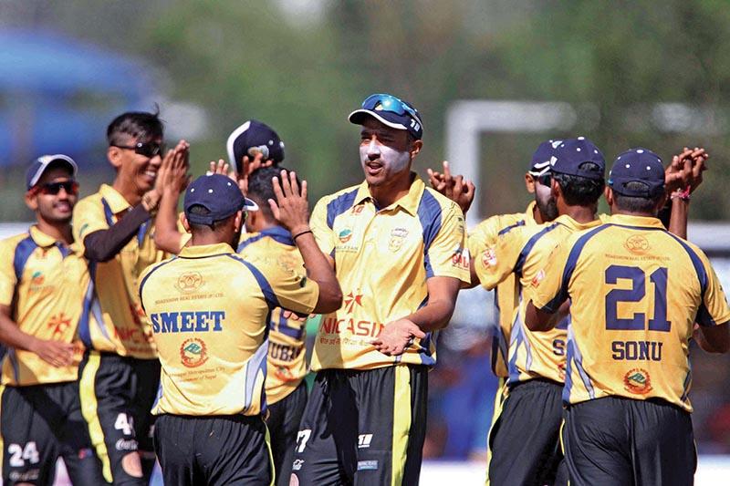 Chitwan Rhinos skipper Paras Khadka (centre) and teammates celebrate a wicket against Kathmandu Royals during their Namaste Pokhara Premier League match in Pokhara on Thursday. Photo: Udipt Singh Chhetry