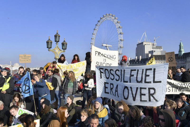 A portest group called 'Extinction Rebellion' demostrate on Westminster Bridge to raise awareness of the dangers posed by climate change in London, on Saturday, November 17, 2018. Courtesy: AP