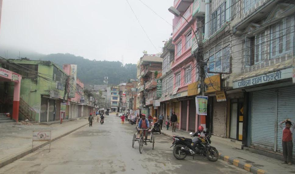 Damauli Bazar wears a deserted look during a market shutdown called by traders, on Friday, November2, 2018. Photo: THT
