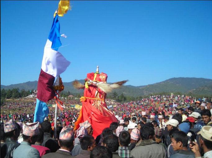 Devotees and revellers throng 'Dehi Jatra' in Dadeldhura, on Wednesday, November 21, 2018. Photo: Tekendra Deuba/THT