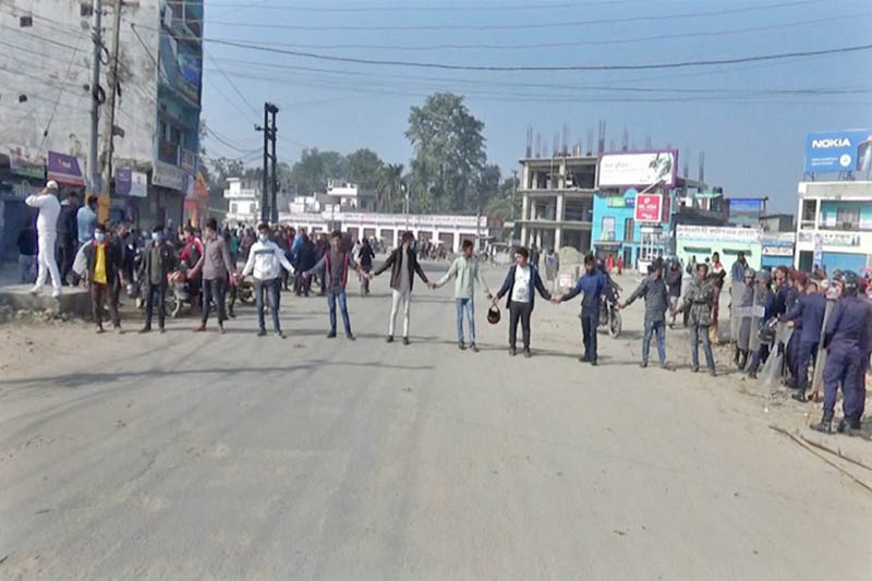 Locals protest demanding action against the culprit behind the murder of Bijaya Thapa, in Dhangadhi, on Tuesday, November 20, 2018. Photo: Tekendra Deuba