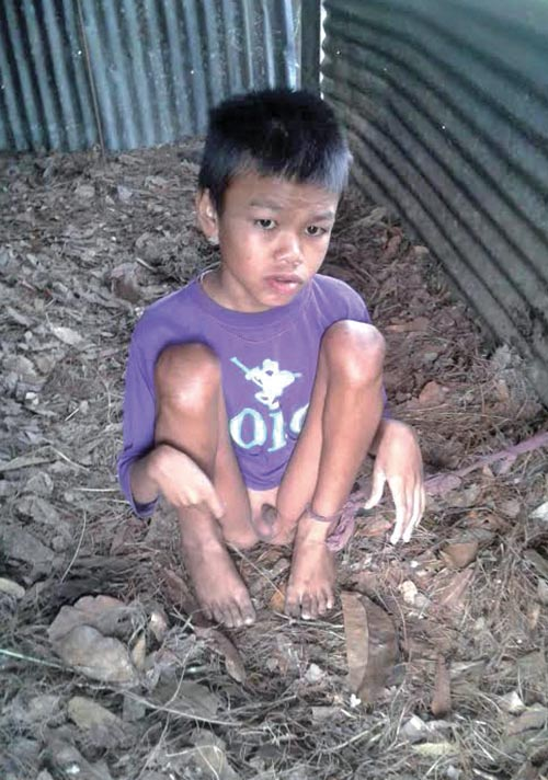 Subba Tamang, 13, chained in a goat shed, in Dolakha, on Saturday. Photo: THT