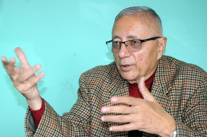 Interview with Dr. Shekhar Koirala, Leader of Nepali Congress in Anamnagar, Kathmandu on Thursday. Photo:  Balkrishna Thapa/ THT
