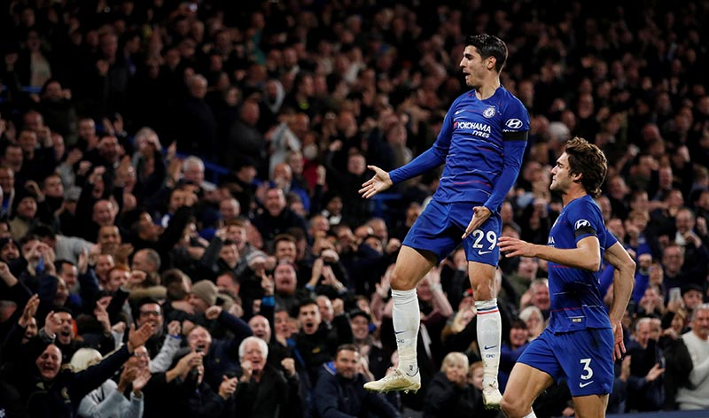Chelsea's Alvaro Morata celebrates scoring their second goal during the Premier League match between Chelsea and Crystal Palace, at Stamford Bridge,in London, Britain, on November 4, 2018. Photo: Reuters