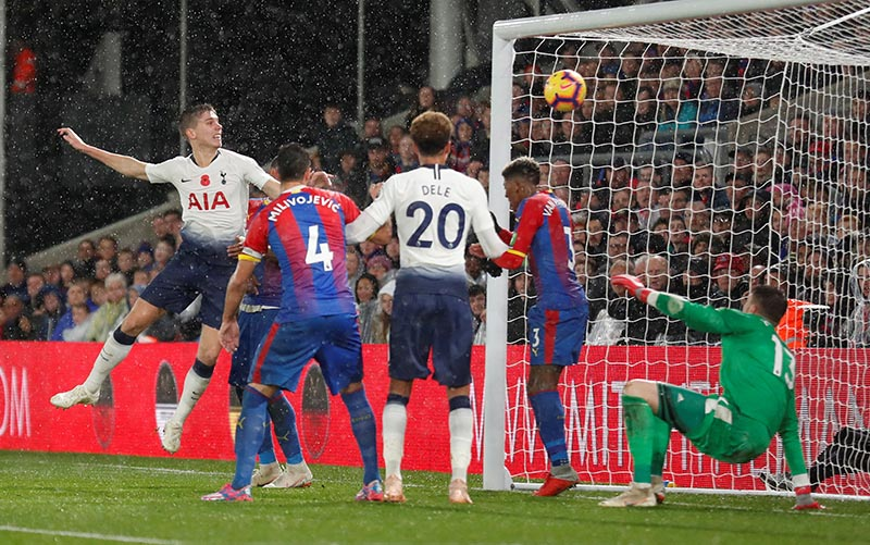 Tottenham's Juan Foyth scores their first goal during the Premier League match between Crystal Palace and Tottenham Hotspur, at Selhurst Park, in London, Britain, on November 10, 2018. Photo:   Action Images via Reuters