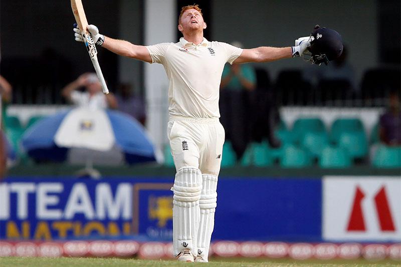 England's Jonny Bairstow celebrates his century. Photo: Reuters