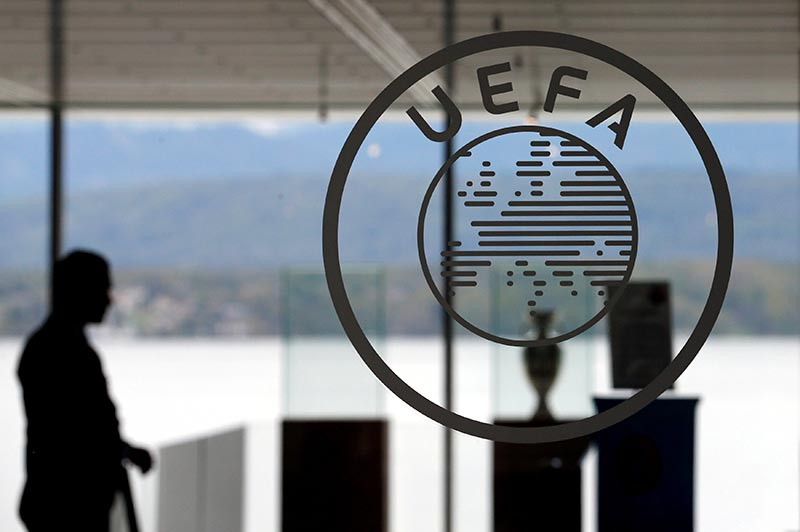 A logo is pictured on UEFA headquarters in Nyon, Switzerland, April 15, 2016. Photo: Reuters/file