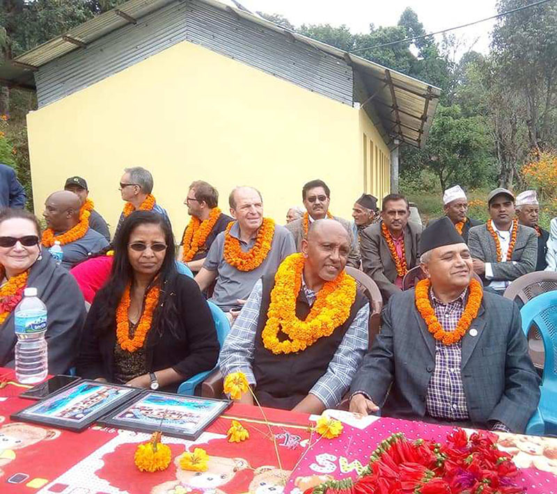 Former Prime Minister of Ethiopia, Layne Tamrat, along with his delegation at Ananda Jyoti Secondary School, in Begnas of Pokhara Metropolitan City, on Monday, November 5, 2018. Photo: RSS