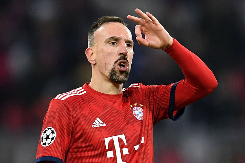Bayern Munich's Franck Ribery celebrates scoring their fifth goal. Photo: Reuters
