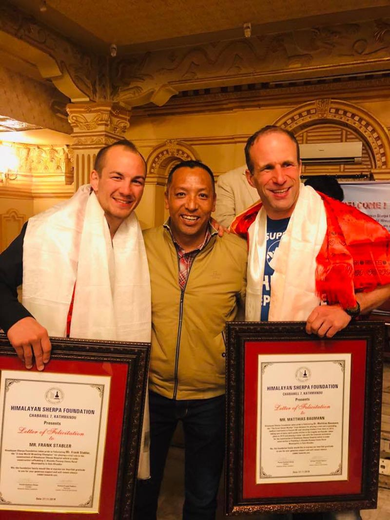 Three-time world wrestling champion Frank Stabler (left) and social worker Mathias Baumann during a feliciation organised by Himalayan Sherpa Foundation. Photo: THT
