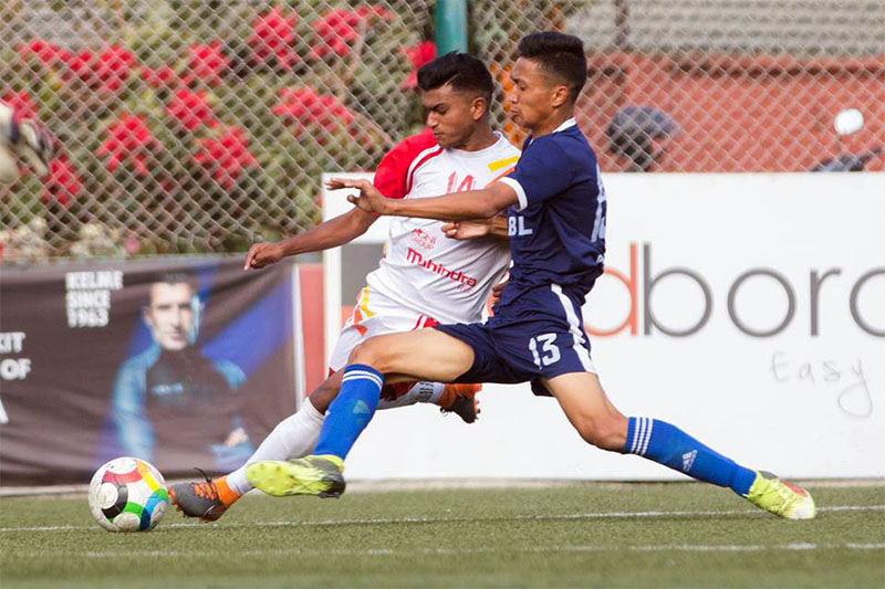 Friends Club and APF players vie for a ball during their Pulsar Martyr's Memorial 'A' Division League at Anfa Complex ground in Satdobato, Lalitpur, on Monday, November 19, 2018. Courtesy: ANFA/facebook